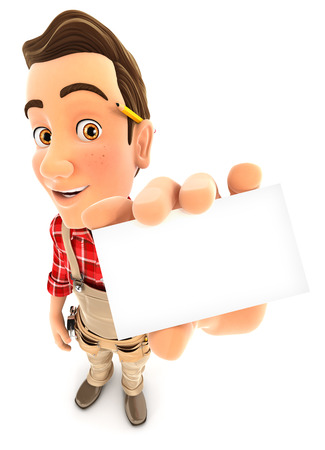3d handyman holding company card, illustration with isolated white background Stok Fotoğraf