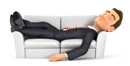 3d zakenman slapen op de bank, witte achtergrond