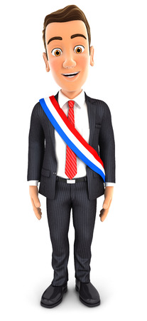 mayoral: 3d businessman wearing french mayoral sash, illustration with isolated white background