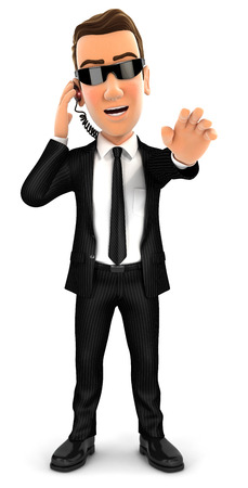 3d security agent stop gesture, isolated white background