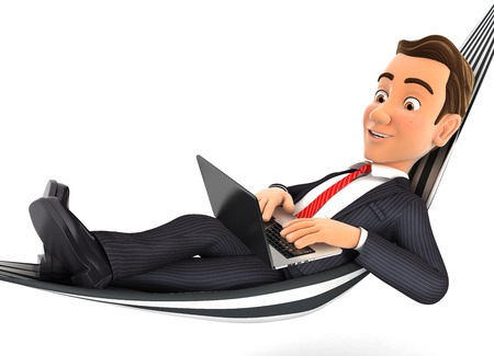 3d businessman lying in hammock and working on laptop, illustration with isolated white background