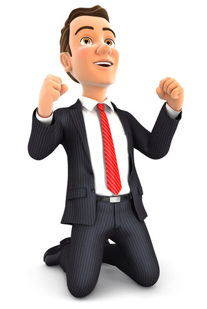 3d successful businessman on his knees, illustration with isolated white background