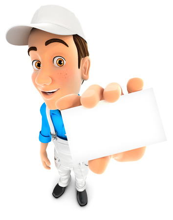 renovating: 3d painter holding company card, illustration with isolated white background