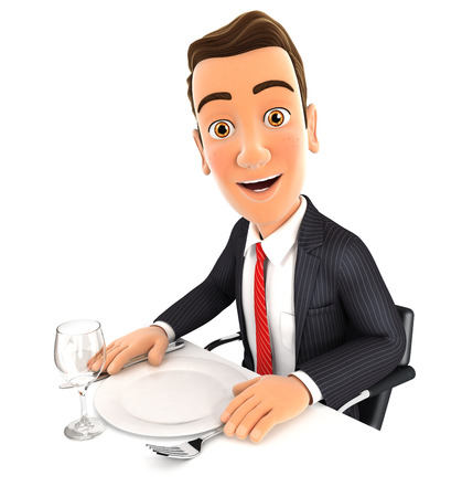 canteen: 3d businessman ready for dinner, isolated white background Stock Photo