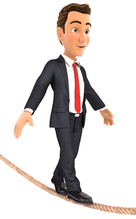tightrope: 3d businessman walking on a rope, illustration with isolated white background