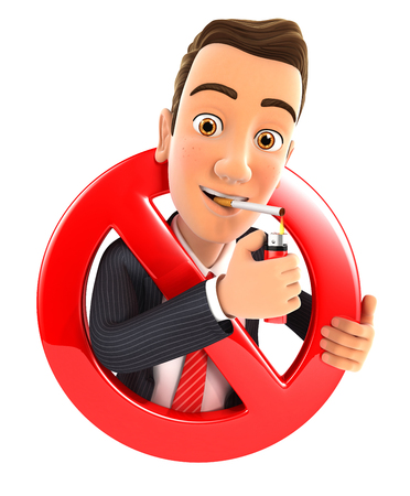 smoking cigarette: 3d businessman smoking cigarette and surrounded by a forbidden sign, illustration with isolated white background