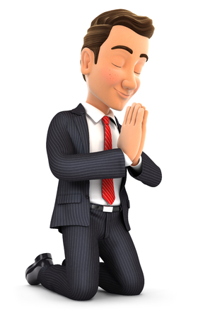 beg: 3d businessman on his knees praying, illustration with isolated white background Stock Photo