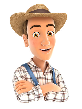 happiness or success: 3d farmer with arms crossed, illustration with isolated white background