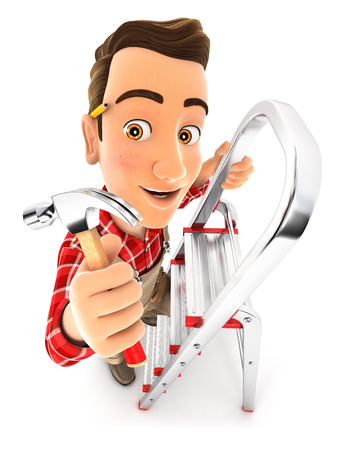 3d handyman on stepladder with claw hammer, illustration with isolated white background Stock Photo