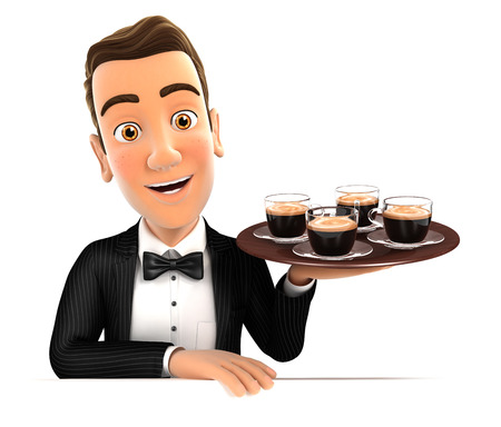 four people: 3d waiter holding four cups of coffee, illustration with isolated white background Stock Photo