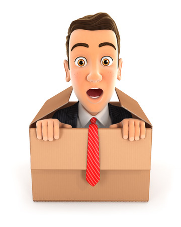 out: 3d businessman coming out of the box, illustration with isolated white background