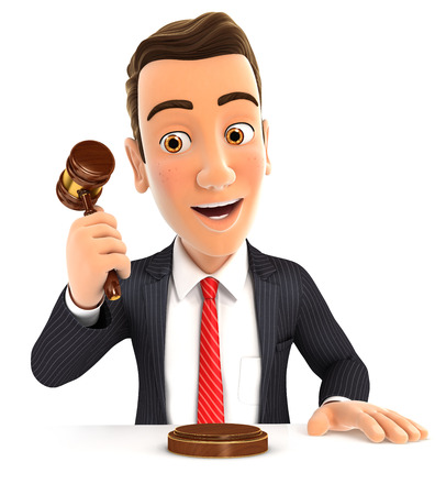 auctioneer: 3d businessman hitting gavel, illustration with isolated white background