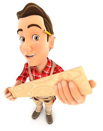 3d handyman holding wooden plank, illustration with isolated white background