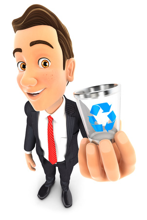 3d businessman holding trash can icon, illustration with isolated white background