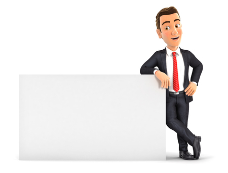 3d businessman leaning against white wall, illustration with isolated white background