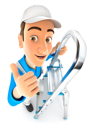 3d painter on stepladder with thumb up, illustration with isolated white background