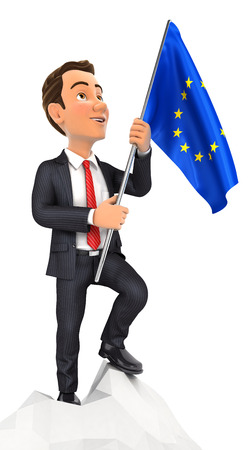 conqueror: 3d businessman holding european flag on top of mountain, illustration with isolated white background Stock Photo