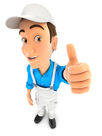 decorator: 3d painter positive pose with thumb up, illustration with isolated white background Stock Photo