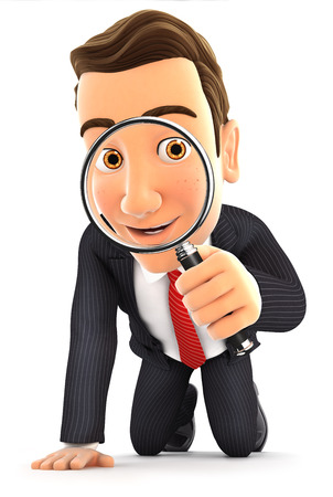 3d businessman looking through a magnifying glass, illustration with isolated white background Фото со стока
