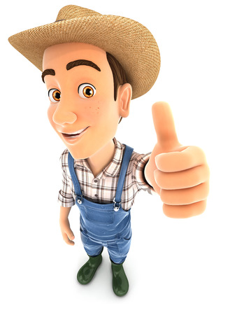 guy standing: 3d farmer positive pose with thumb up, illustration with isolated white background Stock Photo