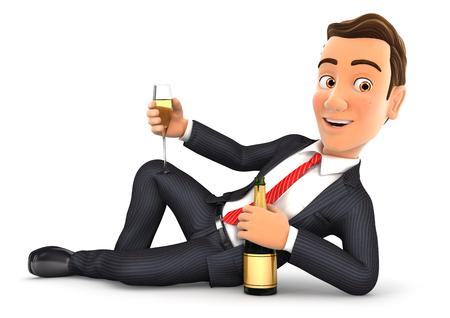 3d zakenman liggend op de vloer met champagne, illustratie met een witte achtergrond Stockfoto