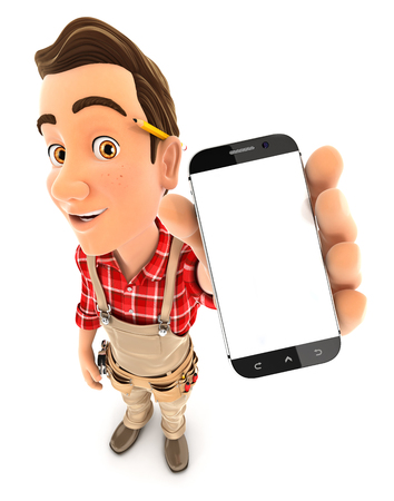mobile cellular: 3d handyman holding smartphone, illustration with isolated white background