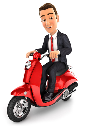 render: 3d businessman riding a scooter, illustration with isolated white background Stock Photo
