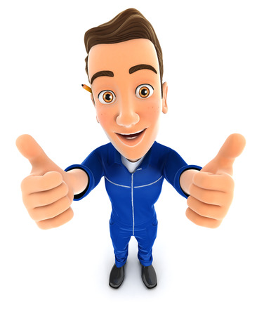 two thumbs up: 3d mechanic thumbs up, illustration with isolated white background