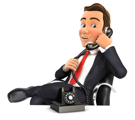 phone and call: 3d businessman making a phone call, illustration with isolated white background Stock Photo