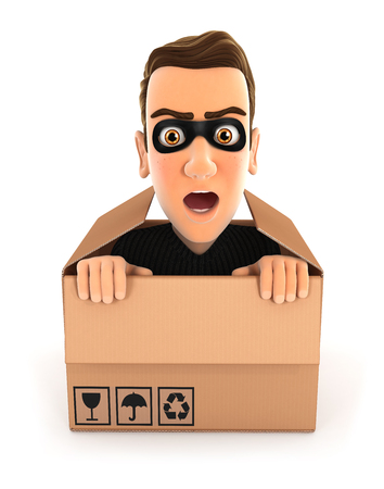 3d thief hiding inside a cardboard box, illustration with isolated white background