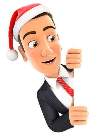 3d businessman with christmas hat peeping over wall, illustration with isolated white background