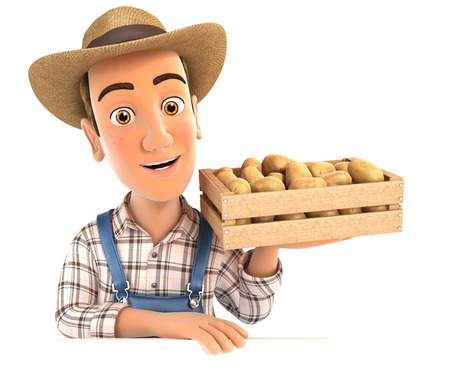wood crate: 3d farmer holding wooden crate of potatoes, illustration with isolated white background Stock Photo