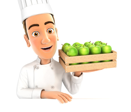 wooden crate: 3d head chef holding wooden crate of apples, illustration with isolated white background Stock Photo