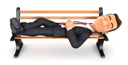 3d businessman taking a nap on public bench, illustration with isolated white background Stock Photo