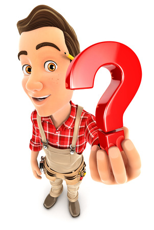3d handyman holding a question mark icon, illustration with isolated white background
