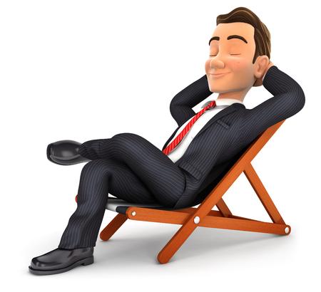 갑판 의자, 격리 된 흰색 배경 가진 그림에서에서 편안한 3d 사업가