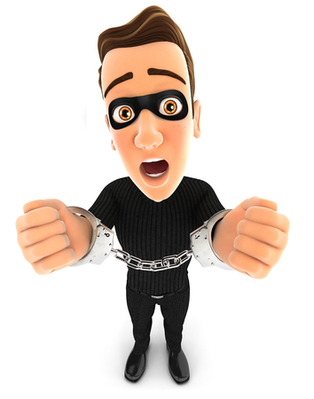 intruder: 3d thief under arrest and handcuffed, illustration with isolated white background
