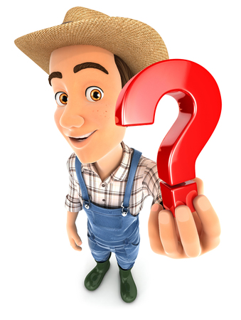 3d farmer holding a question mark icon, illustration with isolated white background Stock Photo