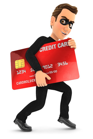 pickpocket: 3d thief with a stolen credit card, illustration with isolated white background