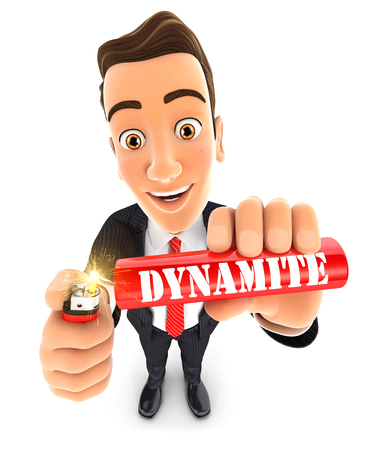 3d businessman lighting a stick of dynamite, illustration with isolated white background