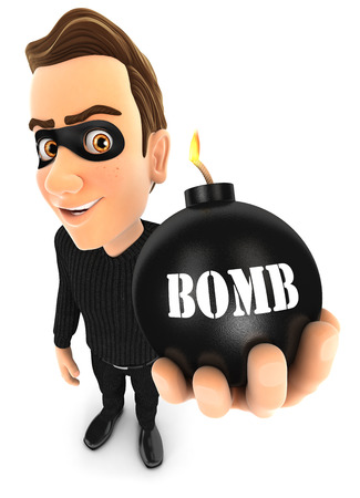 pickpocket: 3d thief holding a bomb, illustration with isolated white background