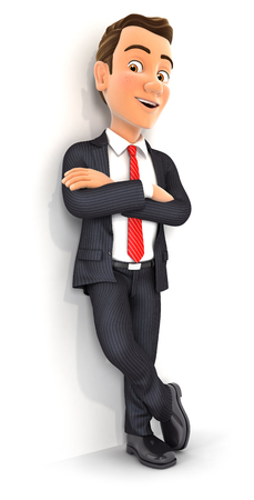 3d businessman standing against wall, illustration with isolated white background