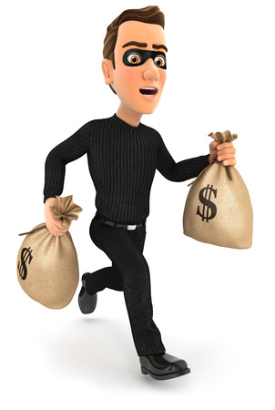 3d thief running with bags of money, illustration with isolated white background