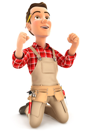 3d successful handyman on his knees, illustration with isolated white background Stock Photo