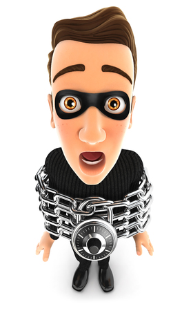 3d thief chained, illustration with isolated white background