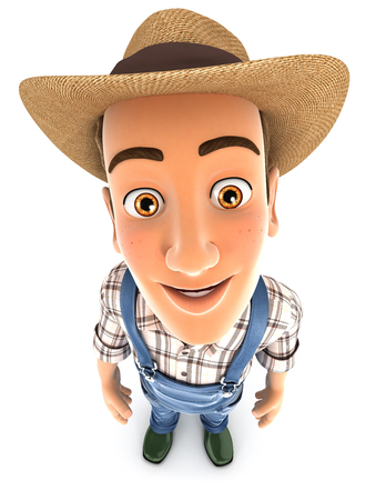 3d farmer standing and looking up at camera, illustration with isolated white background