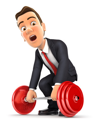 3d businessman trying to lift heavy weight, illustration with isolated white background Reklamní fotografie