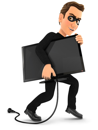 3d thief stealing a television, illustration with isolated white background