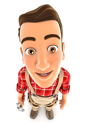 3d handyman standing and looking up at camera, illustration with isolated white background