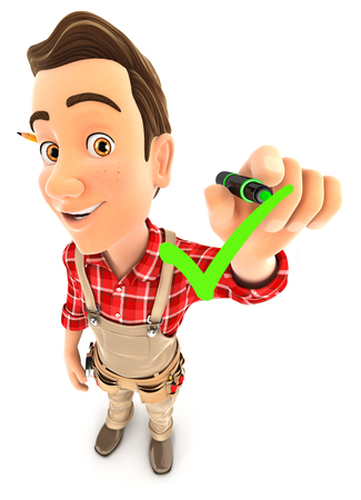 3d handyman drawing positive check mark, illustration with isolated white background